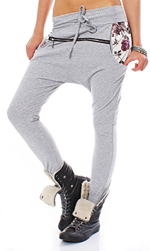 shalwar Baggy Pants mujer pantalón deportivo con flores XS 34S 36M 38 gris/blanco Einheitsgröße