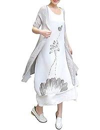 Azbro Mujer Vestido Algodón y Lino Estampado Floral Lavado