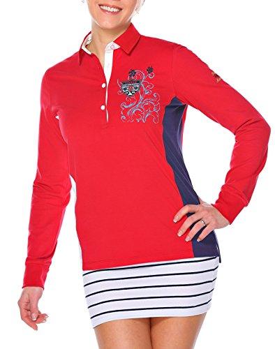 M.Conte Damen Poloshirt Polo-Sweat Sweatshirt Langarm Munia Rot S (Frauen Golf-polo Piqué)