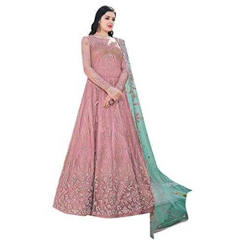 Baby Pink Indische muslimische Braut pakistanische Bollywood Anarkali Salwar Kameez bereit, Designer Boden Touch Net schwere Stickerei 7942 zu tragen Super Net Saree