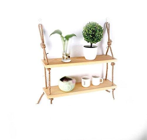 TRRE@ Holz-Doppelregal/Wandregal/Freiform-Regal/einfaches Trennzeichen/Hanf Massivholz-Regal/wandmontiert Wohnzimmer/Holzparkett Ablagebord/Bücherregal/Blumenregal Regale -