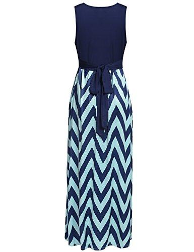 HOTOUCH Damen Maxikleid Strandkleid Striped Ärmellos High Waist Tiefer V-Ausschnitt mit dem Gürtel Sommerkleid Ballkleid Cocktailkleid Partykleid Typ1-Dunkelblau