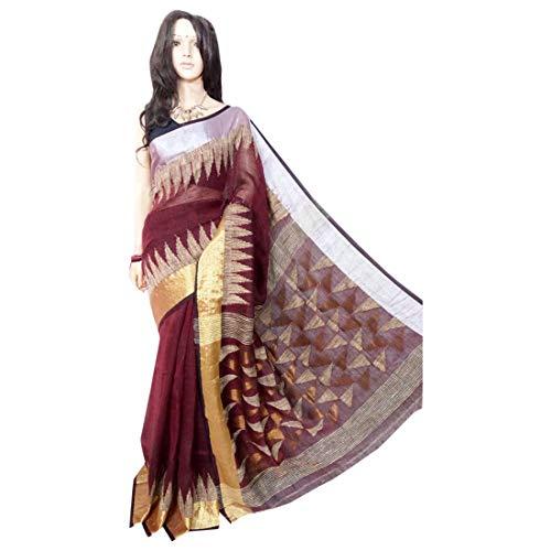 ETHNIC EMPORIUM Indisches ethnisches Leinen Jamdani Saree Sari Brown Colored Fancy Damenkleid 100a -