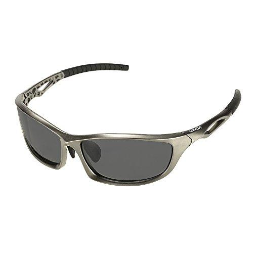 Lixada Gafas de Sol Deportivas, Polarizada 100% Eliminar Resplandor, Protección UV, para Bicicleta Acampada Golf Running