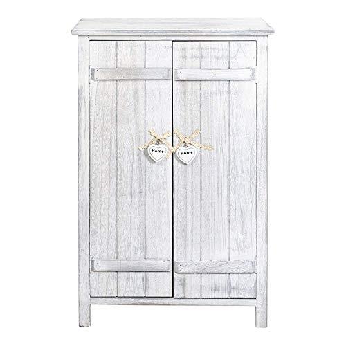 Rebecca Mobili Mesita de noche con 2 puertas, mueble auxiliar de almacenaje, 3 estantes internos, blanco, shabby chic, para baño cocina - Medidas: 78 x 51 x 31 cm ( AxANxF) - Art. RE4573