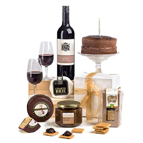 Hay Hampers Luxury Cheese & Wine Gift with Chocolate Birthday Cake - FREE UK Delivery