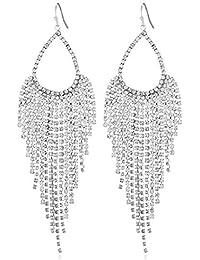 fa1784612828 Las mujeres elegantes de los colgantes de la forma clara y brillante  cascada Rhinestone lleno pendiente largo que…