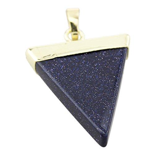 foy-mall Fashion Triangle Synthetik Blau Sandstein Halskette Anhänger D1130 (Billig Einfach Halloween Crafts)