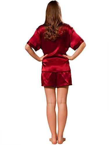 04a4cf6a0ac7de ELLESILK 100% Natur-Seide Zweiteilig Schlafanzug Damen, 22MM Maulbeerseide  Pyjama Weinrot/Schwarz