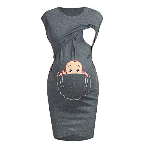 Aberimy Stillkeid Umstandskleid Still Kleid Schwangerschafts Kleid Still-Nachthemd Stillen Kleid Frauen Damen Kleid Sommer Damen Kleider Baumwolle Mit Schön Karikatur Drucken Ärmellos Casual Mode - Drucken Baumwoll-nachthemd