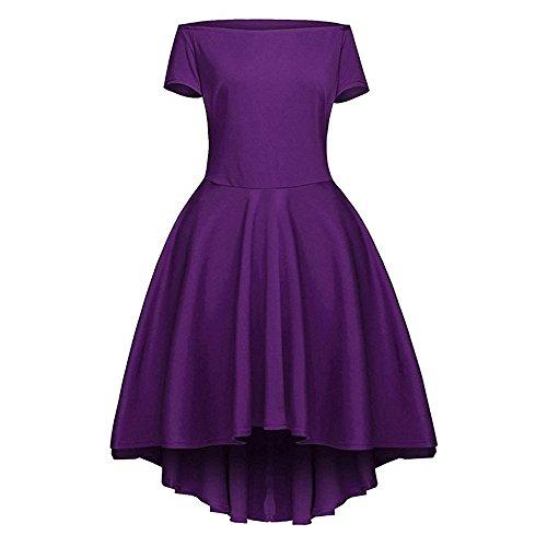 Dabag -paule de mot irrégulière plissé manches courtes élégant genou longueur pure couleur jupe swing mince rétro 2017 (M, Rouge) Violet