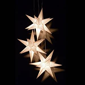 paper star lights set of 3 white 3d christmas stars for the window bockelwitz star art no 200. Black Bedroom Furniture Sets. Home Design Ideas