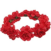 zhouba Bohemia rosa flor diadema novia boda Festival guirnalda corona cinta  para el pelo Prom Hairwear 53e81b2e2328