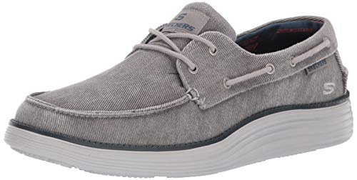 Skechers Herren Status 2.0- Lorano Mokassin, Grau (Light Grey Ltgy), 46 EU - Classic Lace Up Mokassins