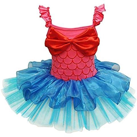 GenialES sirena per bambina Principessa danza ballerina Stage Performance Dance, feste, colore: rosso