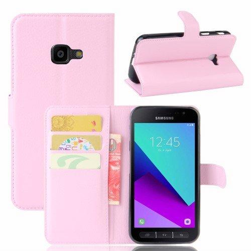 jbTec® Flip Case Handy-Hülle zu Samsung Galaxy Xcover 4 / SM-G390 - Book EINFARBIG - Handy-Tasche Schutz-Hülle Cover Handyhülle Ständer Bookstyle Booklet, Farbe:Rosa