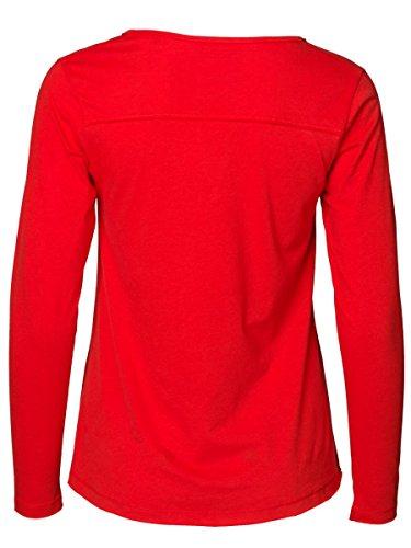 DAILY'S KITTY Damen Langarmshirt mit Schlitzausschnitt aus Seacell und Baumwolle - soziale fair trade Kleidung, Mode vegan und nachhaltig Color red-kiss, Size S - 2