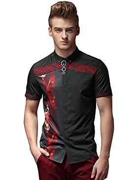 [Sponsorizzato]FANZHUAN Disegno Camicia Cerimonia Uomo Slim Fit Casual Alta Qualità