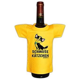 Mini T-Shirt als witzige Geschenkverpackung für Flaschen. - SCHMUSE KÄTZCHEN - Tolle Geschenkidee mit Witz.