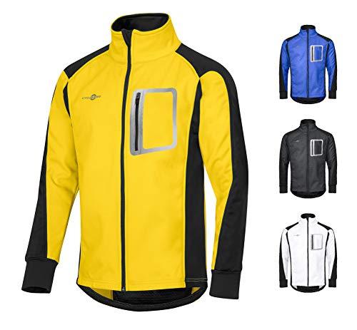 CYCLEHERO Winddichte Fahrradjacke wasserdicht atmungsaktiv reflektierend Softshell Jacke Outdoorjacke (Gelb, M)