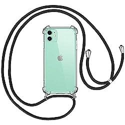 """opamoo Handykette Hülle für iPhone 11 Silikon Handyhülle mit Band Reißfest Necklace Hülle mit Kordel iPhone 11 Handykette, Schnur mit Case zum umhängen für iPhone 11 Transparent Schutzhülle 6.1"""""""