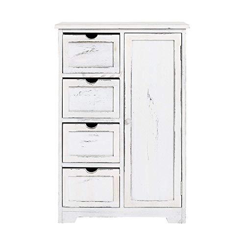 Rebecca mobili cassettiera vintage, credenza 4 cassetti 1 anta, legno paulownia, bianco grigio, camera bagno - misure: 82 x 55 x 30 cm (hxlxp) - art. re4490