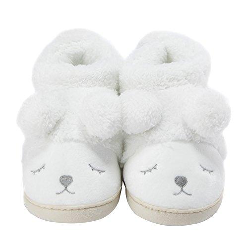 Zapatillas de casa Invierno Suaves Peluche Caliente para Mujer Blanco(High Cut) 39-40 EU