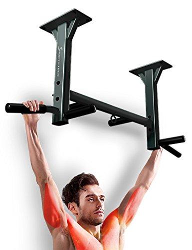 Sportstech Barre de Traction Fixation Plafond KS400 Musculation Fitness 3 Anneaux pour TRX, Punching-Ball, élingues poignées antidérapantes, Exercices Pull-ups matériel de Fixation Inclus Max. 300 KG