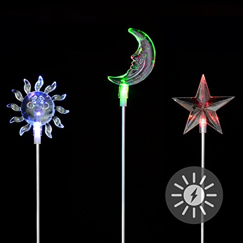 Solarlampe 3er Set Sonne Mond Stern LED Farbwechsel Gartenbeleuchtung Dekoration Solar Leuchte Solarstecker Kunststoff Edelstahl 80 cm
