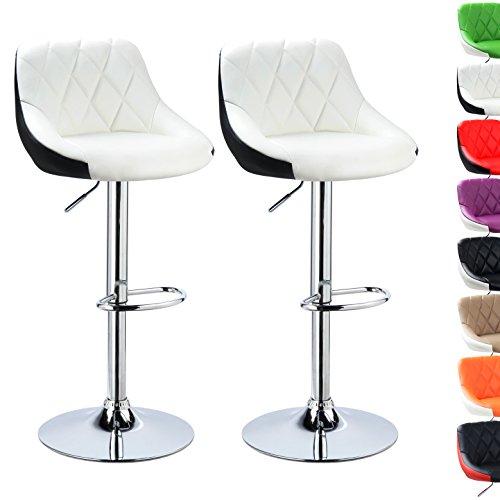 WOLTU BH30ws-2 Design 2 farbig Barhocker mit Griff , 2er Set , stufenlose Höhenverstellung , verchromter Stahl , Antirutschgummi , pflegeleichter Kunstleder , gut gepolsterte Sitzfläche , weißschwarz