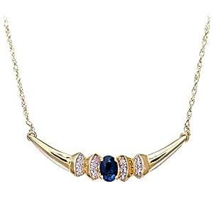 Naava Women's Diamond and Sapphire Necklace, Prong Set, 9 ct Yellow Gold Chain, 41cm Length, 0.05 ct Diamond Weight, Model PNE1132 S(DP0555)