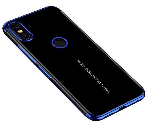 BLUGUL Funda Xiaomi Mi Mix 2S, Electroplating Coloring, Ultra Fina, Transparente Suave TPU Silicona Cover Claro Case para Xiaomi Mix 2S Azul