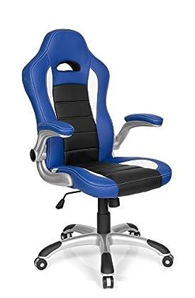 hjh OFFICE - 621890 Silla de Gaming Racer Sport Piel sintética Azul/Negro, apoyabrazos Plegables, Muy cómodo, Respaldo inclinable, fácil de Limpiar, Buen Acabado, Silla Oficina, Silla Racing