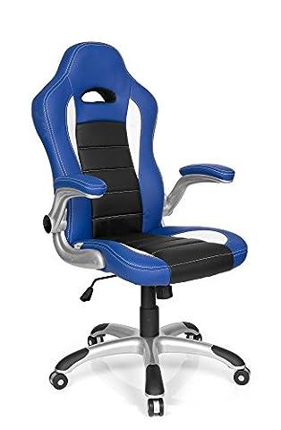 HJH Office Racer Sport Chaise de Gaming et de bureau en cuir synthétique 47.00x54.00x133.00 cm Bleu/noir