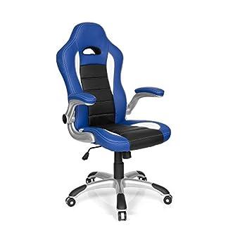 hjh OFFICE 621890 silla gaming RACER SPORT piel sintética azul / negro reposabrazos plegables silla de escritorio inclinable