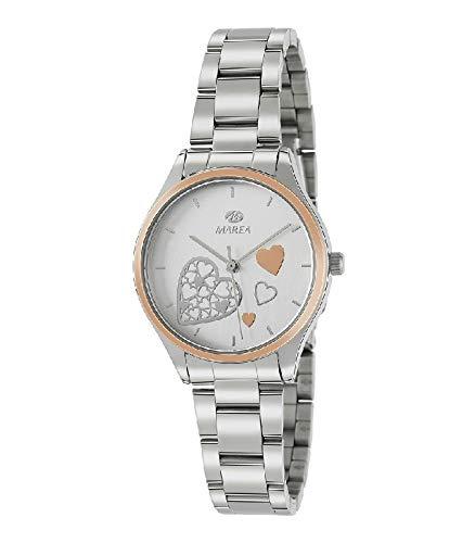 6920484af5c4 Marea B41240/5 Reloj para Mujer con Correa Plateada y Pantalla en Blanco
