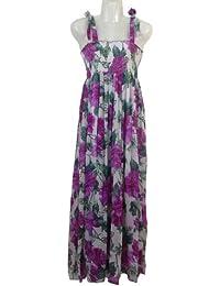 Luftiges Maxikleid / Sommerkleid in trendigen Hippie-Look mit Trägern, gesmokt & blickdicht unterfüttert, ideal für Strand, Bar und Straßencafe. Diverse Farben, One Size/geeignet bis Größe 44