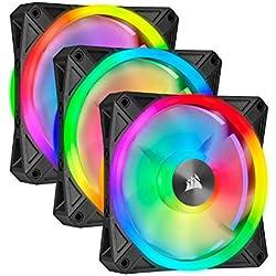 Corsair iCUE QL Series, QL120 RGB, ventilateur LED RGB 120 mm, lot de trois ventilateurs avec Lighting Node CORE