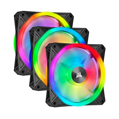 Corsair iCUE QL120 RGB, Ventilateur LED RGB PWM 120 mm (102 LED RGB Paramétrables Individuellement, Allant jusqu'à 1 500 TR/Min, Faible Bruit) Lot de Trois Ventilateurs avec Lighting Node CORE - Noir