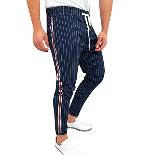 Jogginghose für Herren,Skxinn Männer Sommer Sporthosen,Trainingshose,Sport Fitness, Gym,Training, Slim Fit,Sweatpants Streifen,Jogging-Hose, Stripe Pants,S-XXL Ausverkauf(Marine,Medium)
