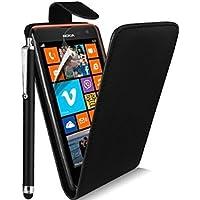 Nokia Lumia 525 Black Premium Vertical High Quality Pu Leather Flip Case Cover Plus Long Stylus Pen, Screen Protector & Screen Polishing Cloth