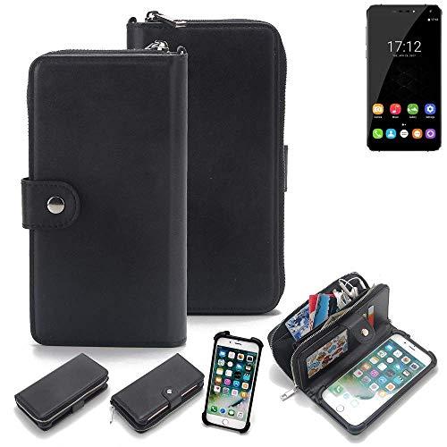 K-S-Trade 2in1 Handyhülle für Oukitel U11 Plus Schutzhülle & Portemonnee Schutzhülle Tasche Handytasche Case Etui Geldbörse Wallet Bookstyle Hülle schwarz (1x)