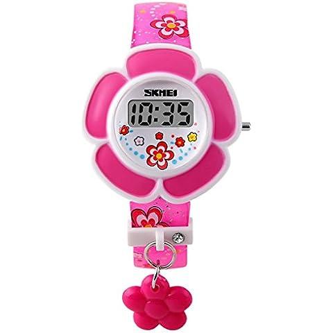 SKMEI - Reloj Infantil Digital LED Reloj de Cuarzo Electrónico Forma de Flores para Niñas Estudiantes Reloj Princesa Correa de PU Estampado de Flores -