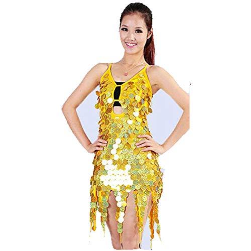 Yinglihua Bauchtanz Kleid Tänzerin Halfter Ärmellos Runde Münze Pailletten Quaste Ballsaal Samba Tango Kleid Wettbewerb Kostüm Minikleid Damentanzkostüm (Farbe : Gold, Größe : Einheitsgröße)