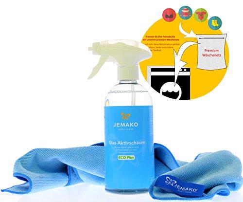 Jemako verre de mousse active Eco Plus 500 ml/1000ml avec chiffon de professionnel Bleu (40 x 45 cm), Pompe Mousse & sinland feinmaschiges Parure réseau, bleu, 500 ml