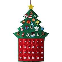 Gosear Fieltro Lindo Estilo de árbol de Navidad Que cuelga el Calendario de Adviento del árbol