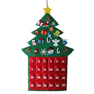 Gosear Fieltro Lindo Estilo de árbol de Navidad Que cuelga el Calendario de Adviento del árbol de Navidad de Tela de 24 días con Bolsillos para Decoraciones de Navidad