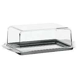 WMF Butterdose, Knackig frisch, Cromargan Edelstahl mattiert, Kunststoffhaube, spülmaschinengeeignet, 16 x 10 cm