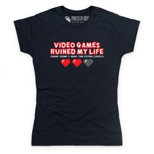 Video Games Ruined My Life T-Shirt, Damen Schwarz