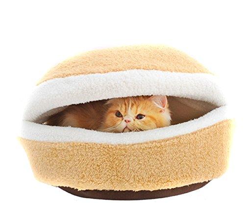 EJY Hamburger Form Bett Kitty Kennel Schale kleiner Hund Katze Haustier Kratzbäume matten Gemütliche Schlafsack - L (Kunststoff-drop-decke)